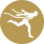 Icon of a sprinter breaking the finish-line tape